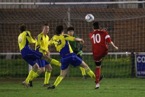 Harry Harris scoring Tiptree's second goal.
